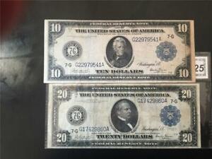 "CHOICE VERY FINE PAIR RARE ""BURKE/GLASS"" 1914 $10/$20 CHI FRN"