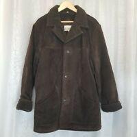 Vintage Fieldmaster Men's Sz L Brown Suede Leather Shearling Jacket Coat