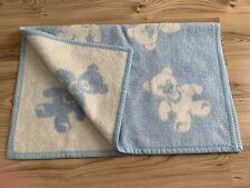 Babydecke Vintage Blau Weiß Bären
