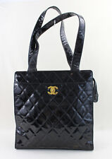 Chanel Authentic Black Quilted Patent Leather Tote Bag Handbag