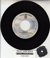 """EAGLES  One Of These Nights & Visions 45 rpm 7"""" record + juke box title strip"""