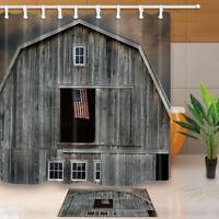 American Flag On Wood Window Bathroom Waterproof Fabric Shower Curtain With Hook