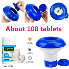 100g Pool Cleaning Tablet+Floating Chlorine Chemical Dispenser Tub water Kits Us
