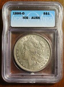1896 O ICG AU55 Morgan Silver Dollar $1 US Mint Rare Key Date.  LOW SHIPPING!!