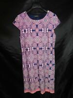 Liz Claiborne Size 14 Navy Blue Pink Print Dress Short Cap Sleeve Stretch Knit l