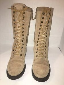 Nine West GUNNER Fashion 6M Boot Lace Up Round Toe Suede Dark NATURAL Shoe
