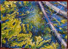Green in Blue ORIGINAL OIL Painting on cardboard LANDSCAPE WALL decor ART