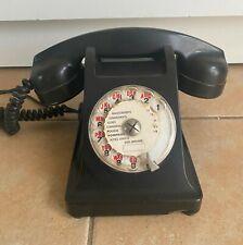 Ancien TELEPHONE EN BAKELITE PTT Noir Vintage 1963
