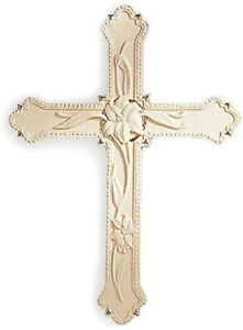 Vintage Lenox Fine Porcelain Ivory Lily Hanging Wall Cross with Gold Accents