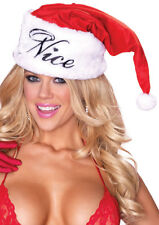 """Santa Hat Sexy Velour & Faux Fur """"Naughty/ Nice"""" Reversible Costume Holiday Hat"""