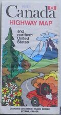 1971 Canada Highway Map and Northern United States by Canadian Government Travel