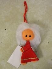 VINTAGE ESTILO VALENCIA FELT ANGEL W/ WINGS FLUFFY WHITE HAIR CHRISTMAS ORNAMENT