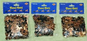 Lot of 3 Packages Black & Copper Horses Fanci Fetti Confetti Party Wedding More!