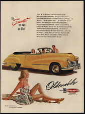 1947 OLDSMOBILE Yellow Convertible Hydra-Matic Car - Pretty Woman - VINTAGE AD