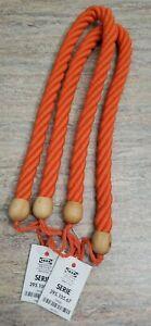 Thick Rope Wood Curtain Tiebacks Chunky Tieback Nautical Tieback Orange Set 2