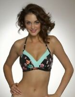 FREYA Bamboo Island Triangle BIKINI TOP BLACK FLORAL NEW