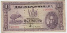Banknote 1934 New Zealand 1 pound showing Maori & Kiwi series 7A 886603, scarce