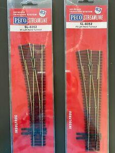 Peco code 83 #5 Left Hand Turnout SL-8352 - set of 2 NIB