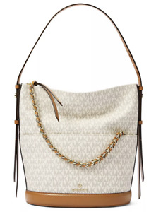 $358 Michael Kors Reese Logo Large Shoulder Bucket Bag in Vanilla / Acorn NWT