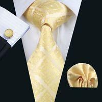 Gold Ornamente Edle Seide Krawatte Set Einstecktuch Knöpfe Breit Schlips K187