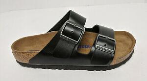 Birkenstock Arizona Slide Sandals, Black Leather, Women's 7 M (EU 38)