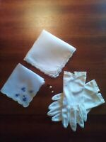 VINTAGE ANTIQUE LOT OF 6, PAIR WHITE LADIES GLOVES, 2 HANDKERCHIEFS , 3 HAT PINS