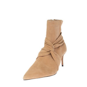 RRP €195 SCHUTZ Suede Leather Ankle Boots EU 38 UK 6 US 8 Heel Gathered Twisted