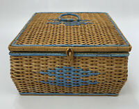 "VTG Woven Wicker 10.25"" Square Sewing Basket- FOR RESTORATION- AA"