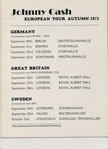 JOHNNY CASH   JUNE CARL PERKINS  EUROPEN 1972 TOUR AUTUM MUSIC CONCERT PROGRAM