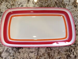 KATE SPADE LENOX WICKFORD CAFE STRIPE Hors D'Oeuvres TRAY RED PINK ORANGE