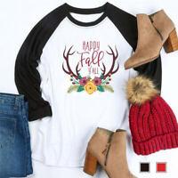 Women Happy Fall Y'ALL Deer Tee Blouse Raglan Long Sleeve Top Casual T-Shirt