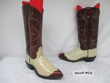 Acme Brown Beige Patent Leather Cap Toe Cowboy Boots Womens Size 5 C Style 59141