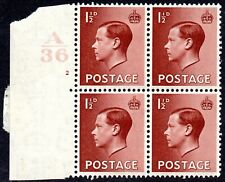 More details for 1936 sg459 1½d red-brown control a36 cylinder 2 (no dot) mounted mint block of 4