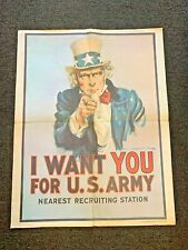 Vintage 1975 I Want You For U.S. Army Uncle Sam Recruiting Station Poster Usa