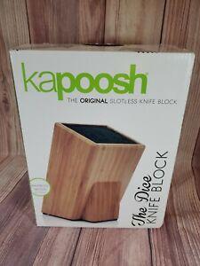 Kapoosh The Dice Bamboo Wood Slotless Knife Block  NEW NIB