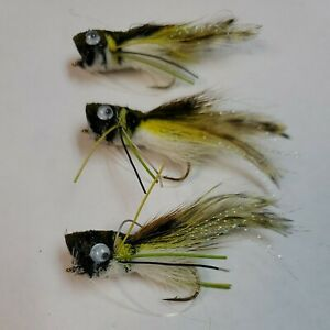 3 DEER HAIR BASS BUG FLASHTAIL POPPER FLY FISHING FLIES - SIZE #6 Package of 3