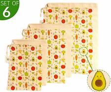 Adorable Reusable Produce Bags Cotton Organic - Set of 6