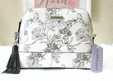 MADDEN GIRL Floral Print Dome Crossbody Black & White Handbag MGARC