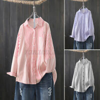 UK Womens Long Sleeve Collared Striped Patchwork Tops Button Down Shirts Blouse