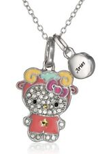 """HELLO KITTY ZODIAC """"ARIES"""" Sterling Silver Pave Crystal Enamel Pendant Necklace"""