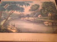 Antique Lithograph The River Side By Haskell & Allen Currier Ives Period/style