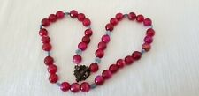 """Agate Gemstone Bead 19"""" Necklace Vintage Faceted Magenta Pink Blue Disk"""