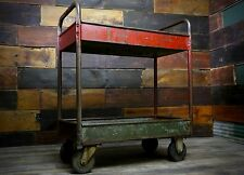 VINTAGE INDUSTRIAL RED 4 WHEEL METAL CART KITCHEN AUTOMOTIVE STORAGE STEAMPUNK
