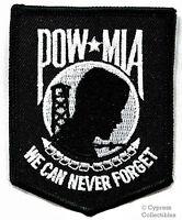 POW-MIA EMBROIDERED PATCH iron-on VIETNAM WAR - BLACK military prisoner emblem