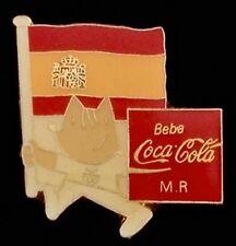 Mascot Cobi with flag ~Olympic Pin Badge~Spain~1992 Barcelona~ Coca-Cola