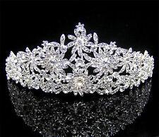 79b Dazzling Pageant Bridal Silver Plated Multi Flower Crystal Wedding Tiara