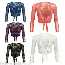 New Women's Lace Bolero Tie Front Ladies Long Sleeve Shrugs Size SM & ML Style B