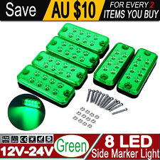 6 x GREEN MARKER LIGHT SUBMERSIBLE CLEARANCE LAMPS TRUCK TRAILER 12/24V 8-LED