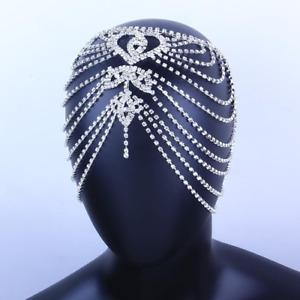 Heart Rhinestone Head Chain Jewelry Luxury Bling Crystal Multilayer Headband