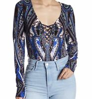Free People Bodysuit Women  Medium Top Pick A Place NEW Long Sleeve Blue Combo